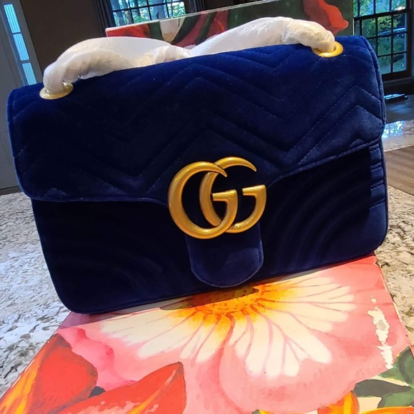 ⭐️NEW⭐️GG Medium Cobalt Blue Velvet Marmont Bag